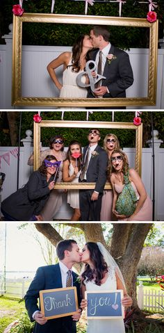 Fun photo booth and thank you card idea! Beautiful Waterfront Wedding by Ashlee Hamon Photography #wedding #details #thankyou #photobooth #weddings