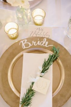 Gorgeous bride place setting: http://www.stylemepretty.com/georgia-weddings/atlanta/2015/03/05/traditionally-elegant-botanical-garden-wedding/ | Photography: Harwell - http://harwellphotography.com/