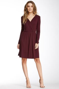 Three Dots Long Sleeve Faux Wrap Dress by Three Dots on @nordstrom_rack