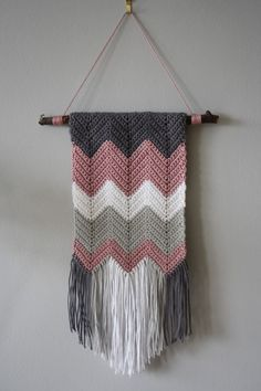 Tales from a happy house.: A Crocheted Zigzag Wall Hanging Tales from a happy house.: A Crocheted Zigzag Wall Hanging Crochet Wall Art, Crochet Wall Hangings, Diy Crochet Wall Hanging, Yarn Wall Art, Crochet Gifts, Free Crochet, Knit Crochet, Crochet Humor, Crochet Hooks