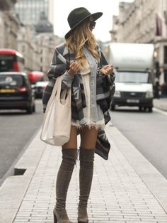Pair a blanket coat with over the knee boots and a wide brimmed hat for casual sophistication. Via Lene Orvik