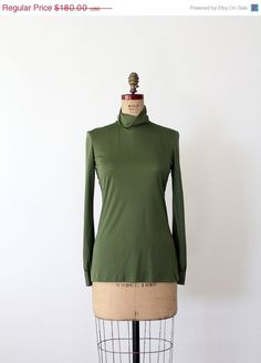 1960s Pucci silk blouse green silk turtleneck by 86Vintage86