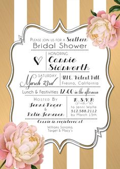 Printed Invites - Southern Themed Black & White with Pink and Gold Peony - Peonies - Gone With The Wind Bridal or Baby Shower Invitation - Birthday Party Vintage Flowers