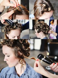 Just make pin curls and then flat iron the pin curls, take out the pins and style your new abundance of curls. Tried this one right away and it works even for my fine hard to curl hair. Do not use heat on damp hair it damages your hair. Do use a protective spray made to minimize heat damage, be sure to let the spray dry before flat ironing the pin curls.