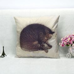 Cartoon Lovely Sleep Curled Cat Throw Pillowcase Bedside Cushion Home Bedroom Decorative Free Shipping 45*45cm
