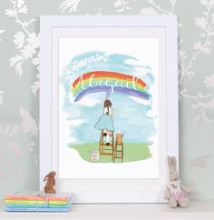 Personalised Girl's 'Painting Rainbows' Print