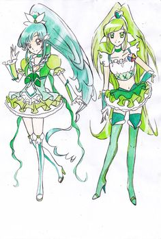 Cure Cantabile and Cure Kiwi (redrew) by Rona67.deviantart.com on @DeviantArt