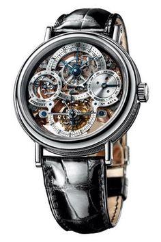 Breguet Tourbillion Skeleton Dial Platinum Black Leather Mens Watch 3755PR1E9V6