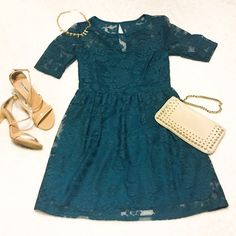 Turquoise Lace Dress Knee length, dark turquoise lace dress | Sweetheart cut neckline | Size 11 | Worn Once City Triangles Dresses Midi