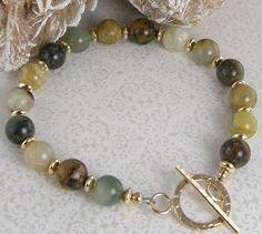Soochow jade 14k gold filled bead bracelet.  BUY NOW http://jewelrybytali.com/products/soochow-jade-bead-bracelet-earth-tone-jade-and-14k-gold-filled-bead-bracelet