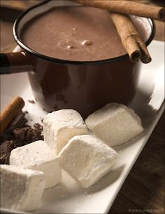 Mexican Hot Chocolate with Homemade Vanilla Marshmallows.