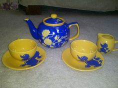 Handpainted poodle tea set  Customized just by SigmaGirlCreations, $45.00