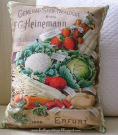 Garden Party Seed Packet Pillow Cover by HensinDaisies on Etsy Watercolor Fruit, Fruit Painting, Tomato Garden, Seed Packets, Cozy Cottage, Garden Styles, Container Gardening, Pillow Covers, Seeds