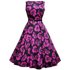 Vintage Style Vampire Violet Poppy Audrey Hepburn Dress by Lady... ($77) ❤ liked on Polyvore featuring dresses, vintage style dresses, floral printed dress, vintage day dress, vintage flower print dress and botanical dress