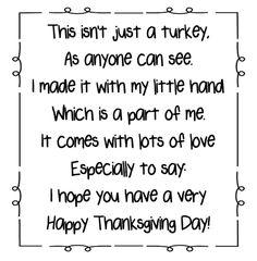 Turkey Handprint Poem Printables