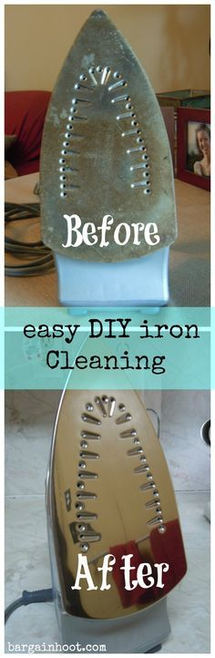 Diy iron cleaning/ did this last weekend. IT WORKS! (I just used the b soda and vinegar) found on another site the same mix to clean the inside of the oven door. Nice, no spray to breathe in and it is so painless. no scrubbing! Household Cleaning Tips, Cleaning Recipes, Cleaning Hacks, Cleaning Supplies, Iron Cleaning, Diy Cleaners, Cleaners Homemade, Baking Soda Uses, Laundry Hacks