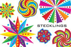 Stecklings: 99 Colorful Icons! by steckfigures on Creative Market
