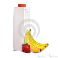 Few yellow bananas and one red strawberry near carton juice pack isolated on white background