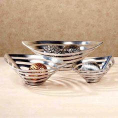 Taranto Accent Bowl Set Silver Set of Three Modern Decorative Accents, Bowl Set, Accent Decor, Decorative Bowls, Silver, Decor Ideas, Home Decor, Decoration Home, Room Decor