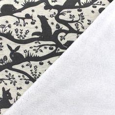 Tissu sweat envers minkee Pretty forest - crème chiné x 19cm