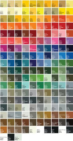 Have a browse through our list of uPVC Paint colors from a standard RAL colour c. Ral Colour Chart, Color Mixing Chart, Mixing Colours, Paint Color Codes, Paint Color Chart, Paint Charts, All Colours Name, List Of All Colors, Different Types Of Colours
