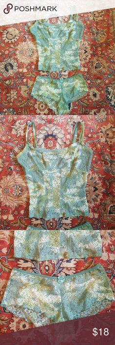Green & White 2pc Tye Dye Set Cute Green and White Tye Dye Set. Corset inspired camisole and matching panties. Tag says XL but looks like it could fit a large or medium. New with tags never worn. Intimates & Sleepwear Bandeaus