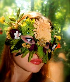 Summer Fairy Greenman Mask Halloween by magpiesmasquerie on Etsy, $35.00