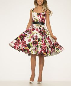 White & Red Floral Empire Waist Dress