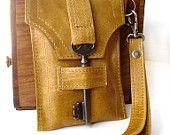 Leather Wristlet Smartphone Gadget Case w/ Antique Key and Snap - Honeysuckle Tan