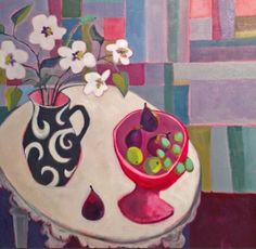 "Annie O'Brien Gonzales-Contemporary Abstract Still Life Art Painting ""Delovely"" by Santa Fe Artist Annie O'Brien Gonzales"
