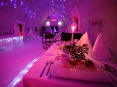 Dining room in Romania's Ice hotel..I wonder if everything is served cold?
