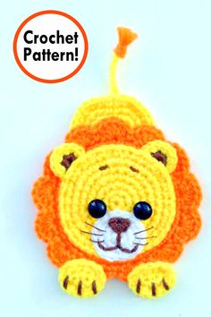 lion applique Crochet pattern, cute applique pattern for bags, crafting, scrapbooking and nursery wall art!
