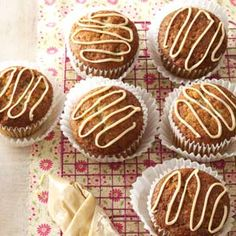 Jumbo Caramel Banana Muffins ~ Love banana bread? These flavorful muffins, drizzled with sweet caramel icing, will fill the bill in a big way.