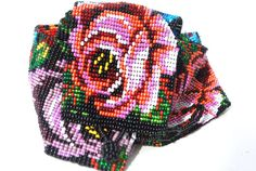 Vintage Seed Bugle Bead Rose Beaded Belt by WhatTheBelt on Etsy