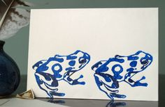 Hand printed Blue Frogs card by MadSamCollections on Etsy, £3.50