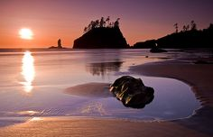 Seconds of Golden Glow by Bryan Swan, via Flickr Sunset over Second Beach, Olympic National Park, WA
