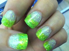 Neon and silver nails