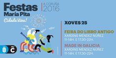 Es jueves y continúan las fiestas de #MaríaPita16, aunque el final ya está cerca =( Hay que aprovechar y disfrutar de lo que queda =) #visitacoruña Map, How To Make, Parties, Summer Parties, Thursday, Maps, Peta