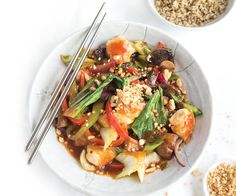In a small bowl combine all sauce ingredients. Set aside. Heat a non-stick pan with oil spray until hot. Cook chicken for 3–4 minutes, or until browned. Add veges and stock to chicken. Stir fry for ...