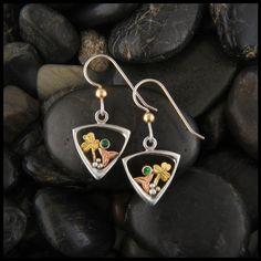 Irish earrings with Celtic Trinity Knot, a Shamrock, set with a Tsavorite Garnet.