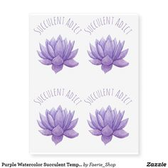 Purple Watercolor Succulent Temporary Tattoos #watercolor #watercolour #succulent #cactus #flower #purple #painting #colorful #botanical #faerieshop #zazzle #gift #present #idea #tattoo #temporary