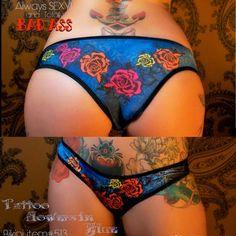 Blue Flower Tattoo pants