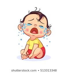 Cartoon sitting and crying little baby boy with mouth wide open. Colorful vector illustration of emotion isolated on white background. Crying Cartoon, Baby Cartoon, Cartoon Kids, Cartoon Art, Cry Drawing, Drawing For Kids, Kids Cartoon Characters, Cute Characters, Boy Illustration