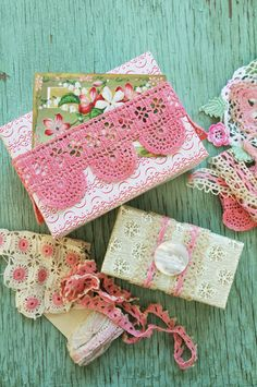 vintage lace wrapped presents ..