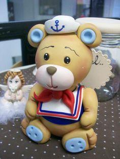 *SORRY, no information as to product used ~ topo de bolo pra aniversario...ursinho marinheiro