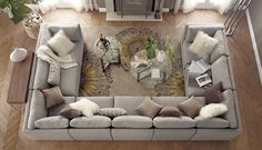 I would ut this sofa in the room in a deep brown color. Add yellow and green pillows(not extra bright) and get a rug with hints of all three colors