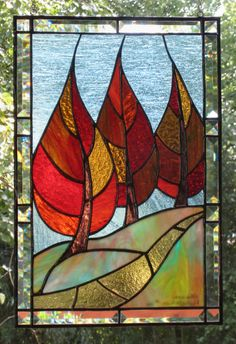 PDF Pattern for Stained Glass - Flaming September - FleetingStillness Original Design Stained Glass Quilt, Stained Glass Designs, Stained Glass Panels, Stained Glass Projects, Stained Glass Patterns, Leaded Glass, Mosaic Art, Mosaic Glass, Mosaics