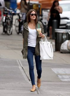 Olivia Palermo - Celebrity Style - Utility Coat / Jacket and Jeans #favorite_pin