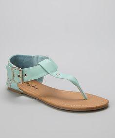 Look at this #zulilyfind! Mint & Silver Accent-Weave T-Strap Sandal by VeeVee #zulilyfinds