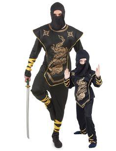 Déguisement couple ninja père et fils : Déguisement ninja hommeDéguisement de ninja doré pour homme composé d'un pantalon, d'un haut, d'une cagoule etd'un plastron. Le pantalon, le haut et...